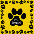 Dog footprint over yellow background vector illustration Royalty Free Stock Photo