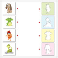 Dog, frog, ant and snake. Educational game for kids