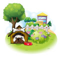 A dog in the garden across the high buildings illustration of on white background Stock Image