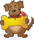 Dog with giant collar tag sign cartoon character a cheerful holding a golden bone shaped connected to his Stock Image
