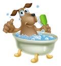 Dog grooming bath cartoon