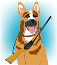 Dog with handgun Stock Photography