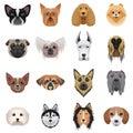 Dog heads logo set. Vector illustration emblem isolated.