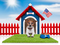 Dog house with american flag and bowl full of food Royalty Free Stock Photos