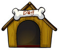 A dog house with a bone illustration of on white background Stock Image