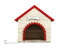 Dog house with chain on white background d rendering front view Royalty Free Stock Image