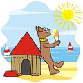 Dog and house his shack by the sea licking ice cream Stock Image
