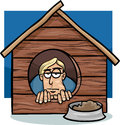 In the dog house saying cartoon humor concept illustration of or proverb Royalty Free Stock Images