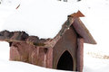 Dog house in snow Royalty Free Stock Image