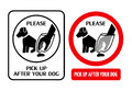 Dog hygiene signs two illustrated telling owners to please pick up after your Royalty Free Stock Photos