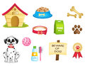 Dog icons clipart collection and dogs stuff colorful isolated on white background Royalty Free Stock Photos