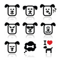 Dog icons set happy sad angry on white vector of cute charater expressing anger happiness Royalty Free Stock Photos