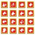 Dog icons set red