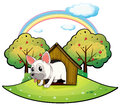 A dog inside the dog house with an apple tree at the back illustration of on white background Royalty Free Stock Photography