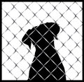 Dog inside a fence or cage silhouette illustration of like you would see in shelter Royalty Free Stock Photos