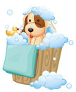 A dog inside a pail full of bubbles illustration on white background Stock Photo