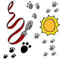 Dog Leash Pawprints Royalty Free Stock Images