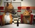 Dog Love Cat Dating Illustration