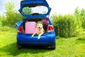 Dog and luggage in the car trunk bags other of on back yard ready to go for vacation Royalty Free Stock Photography