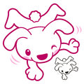 Dog mascot in happiness dancing animal character design series Stock Photo