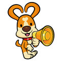 Dog mascot the left hand is holding a loudspeaker animal chara character design series Stock Photography
