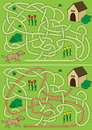 Dog maze for kids with a solution Stock Images