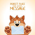 Dog message cute little is holding a letter Royalty Free Stock Photos