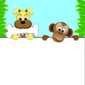 Dog and monkey cute of illustration Royalty Free Stock Photo