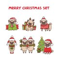 Merry christmas set dogs breed pug. Royalty Free Stock Photo