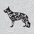 Dog is my best friend. Motivational handwritten quote on a black silhouette of german shepherd