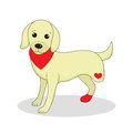 Dog without one leg. Dog invalid. Puppy with an injury. Vector illustration Royalty Free Stock Photo