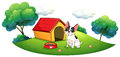 A dog outside its dog house illustration of on white background Royalty Free Stock Images