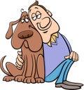 Dog with owner cartoon illustration Royalty Free Stock Photo