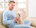 Dog and owner little maltese sitting with his on the sofa in home Stock Photo