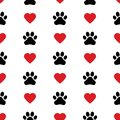 Dog Paw Cat Paw heart love puppy foot print kitten valentine vector Seamless Pattern