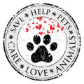 Dog paw heart love sign icon. Pets symbol textured web button. Vector Grunge post stamp. Circle banner or label. Protect your dog