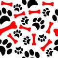 Dog paw print trails and candy cane in shape