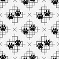 Dog paw prints seamless pattern with lines