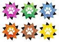Dog paws set of six colored paw stylized icon Royalty Free Stock Photography