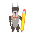 Dog with a pencil illustration of on white background Royalty Free Stock Photography