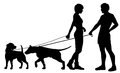 Dog people chat up editable vector silhouettes of a man and woman and their pet dogs interacting Stock Photography