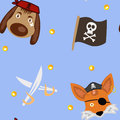 Dog-Pirate And Fox-Pirate Royalty Free Stock Photo