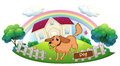 A dog playing in front of a house illustration on white background Stock Images