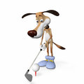 Dog playing golf outdoors in good weather Royalty Free Stock Photos