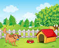 A dog playing inside the fence illustration of Stock Images