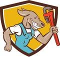 Dog Plumber Running Monkey Wrench Shield Cartoon