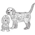 Dog and puppy adult antistress or children coloring page.