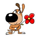 Dog puppy stands smiling holding a flower in his paws Royalty Free Stock Photo