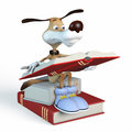 Dog reads book illustration literature Royalty Free Stock Photography