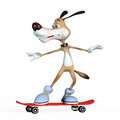 Dog rides skateboard holds balance Royalty Free Stock Photography